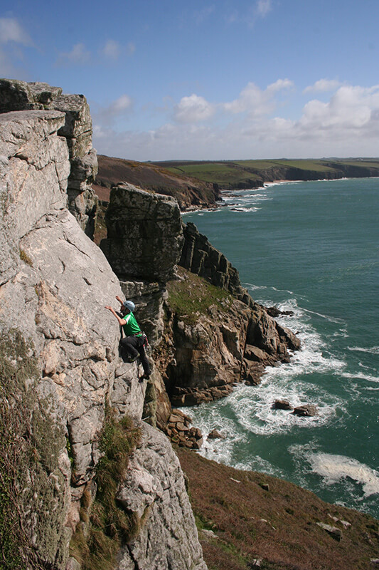 Sea cliff climbing in Cornwall